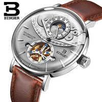 สวิตเซอร์แลนด์นาฬิกาผู้ชาย BINGER อัตโนมัติ Mechanical นาฬิกาผู้ชายแบรนด์หรู Sapphire Relogio Masculino นาฬิกากันน้ำ B-1-5
