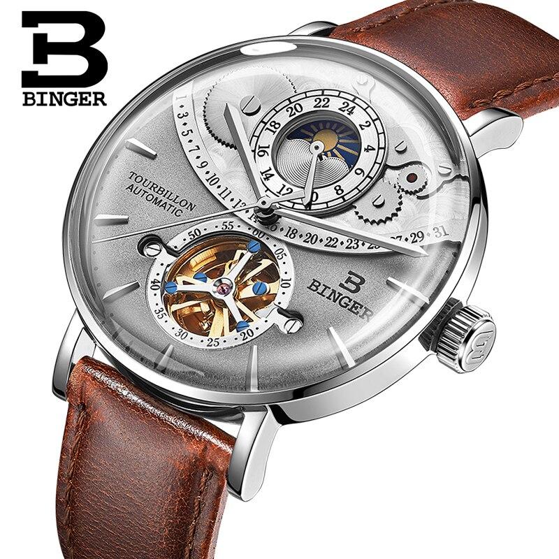 Suisse montre hommes BINGER automatique mécanique hommes montres de luxe marque saphir Relogio Masculino étanche hommes montre B 1 5-in Montres mécaniques from Montres    1