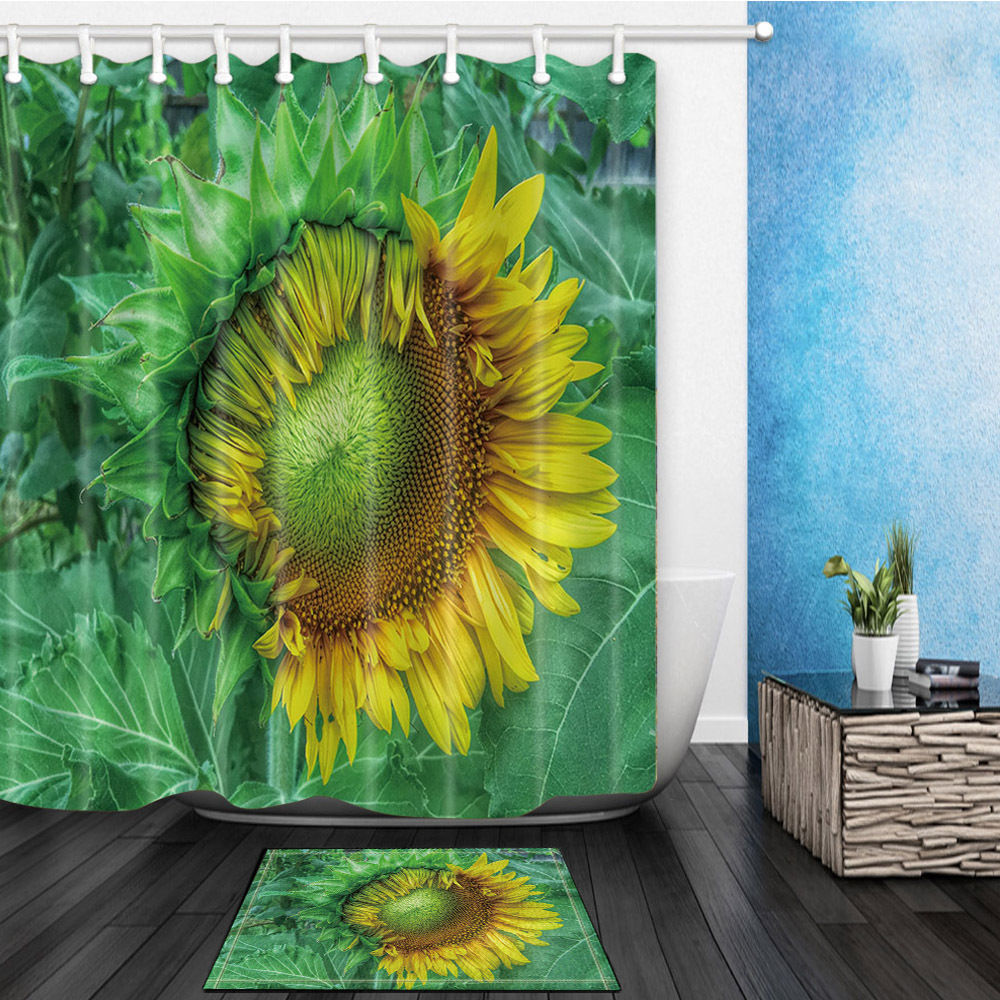Sunflower shower curtain hooks - Half Open Sunflower Flower Bed Bath Shower Curtain Sets Waterproof Fabric With 12 Hooks Wts035