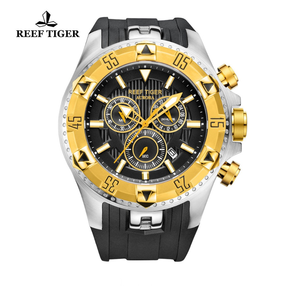 Reef Tiger / RT Men Sports Quartz Watches dengan Chronograph dan Date Big Dial Baja Super Luminous Yellow Gold Stop Watch RGA303