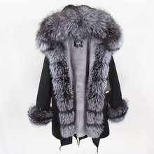 Maomaokong Natural fox fur coats Real Fur Winter Long Black Jacket Park fur lining