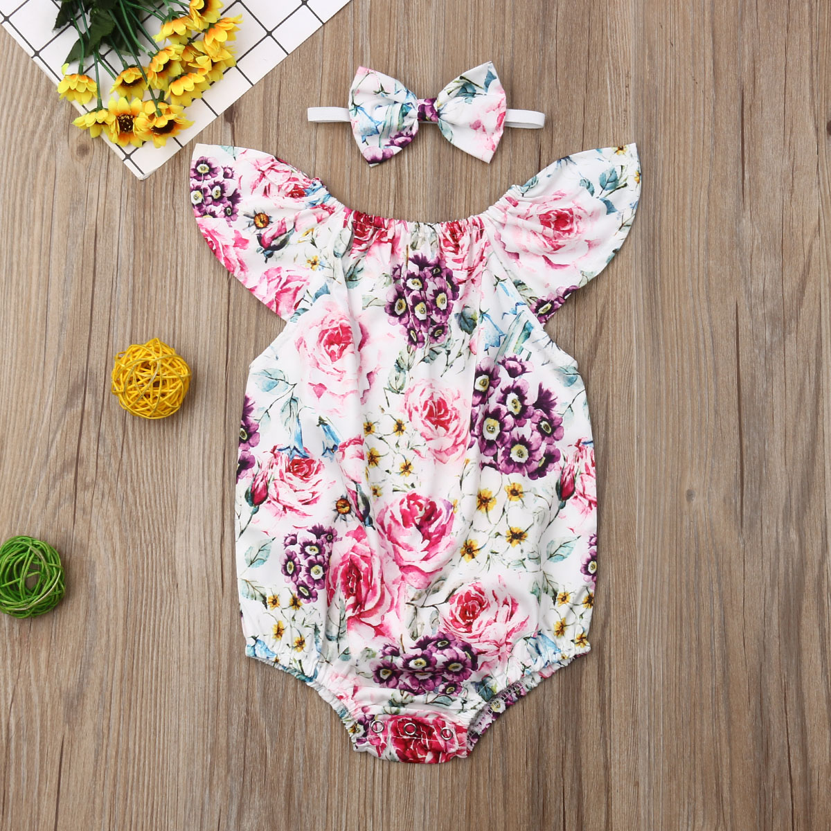 Pudcoco Newborn Baby Girl Clothes Sleeveless Flower Print Romper Jumpsuit Headband 2Pcs Outfits Baby Clothes
