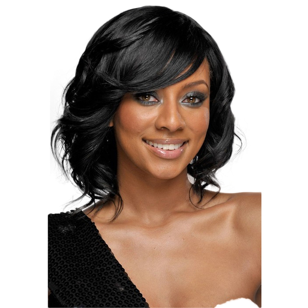 Sexy Full Bangs wigs for black women short human hair wigs for black women short body wave wigs front lace 6623a vogue black to red ombre lolita long straight side bang synthetic capless cosplay women s wig