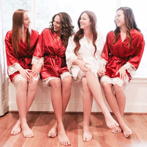 Silk Robe Sleepwear Dress Pajamas Lingerie Nightgown Lace Sexy Women New Hot Autumn Xmas