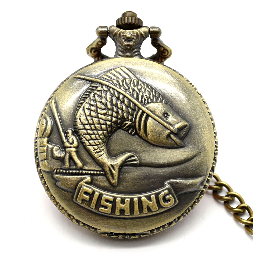 New Victorian Jump Fish Pattern Pocket Watch 2016 Free shipping hot sale wholesale ladies mens Gift for Fishermen P108C(China (Mainland))