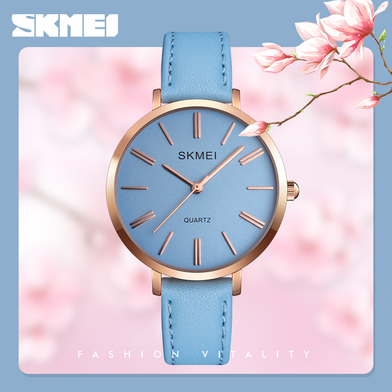 Fashion Simple Casual Quartz Watch Women Luxury Brand SKMEI Waterproof Leather Strap Woman Clock Wrist Watch Reloj Mujer