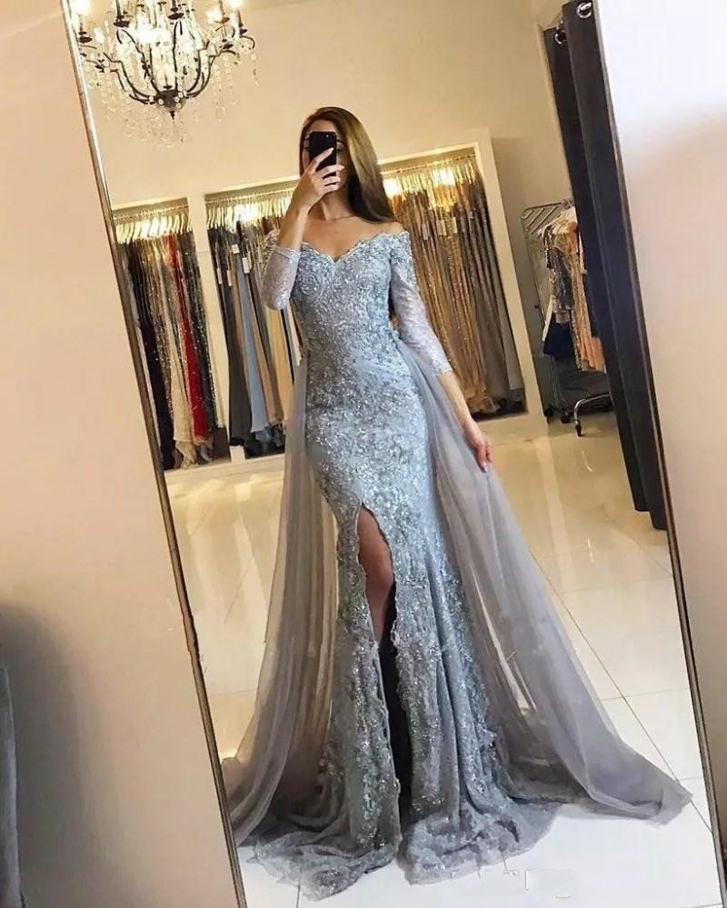 Silvery Muslim Evening Dresses 2020 Mermaid 3/4 Sleeves Lace Beaded Slit Islamic Dubai Kaftan Saudi Arabic Long Evening Gown