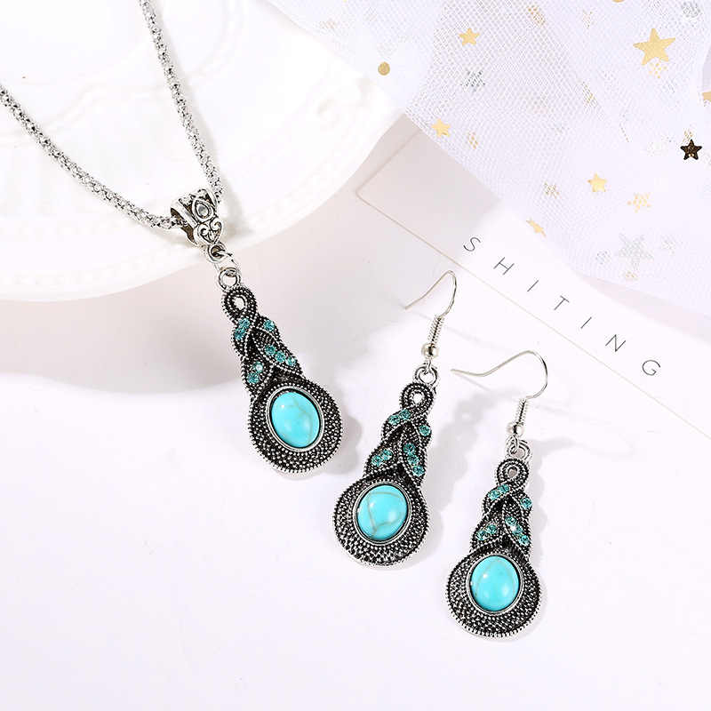 New fashion retro blue crystal inlaid stone earrings best selling bohemian personality necklace retro jewelry set