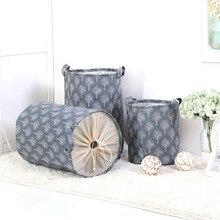 S/L хлопок льняная ткань сложенная корзина утолщение корзина для хранения игрушек ванная комната грязная корзина для белья