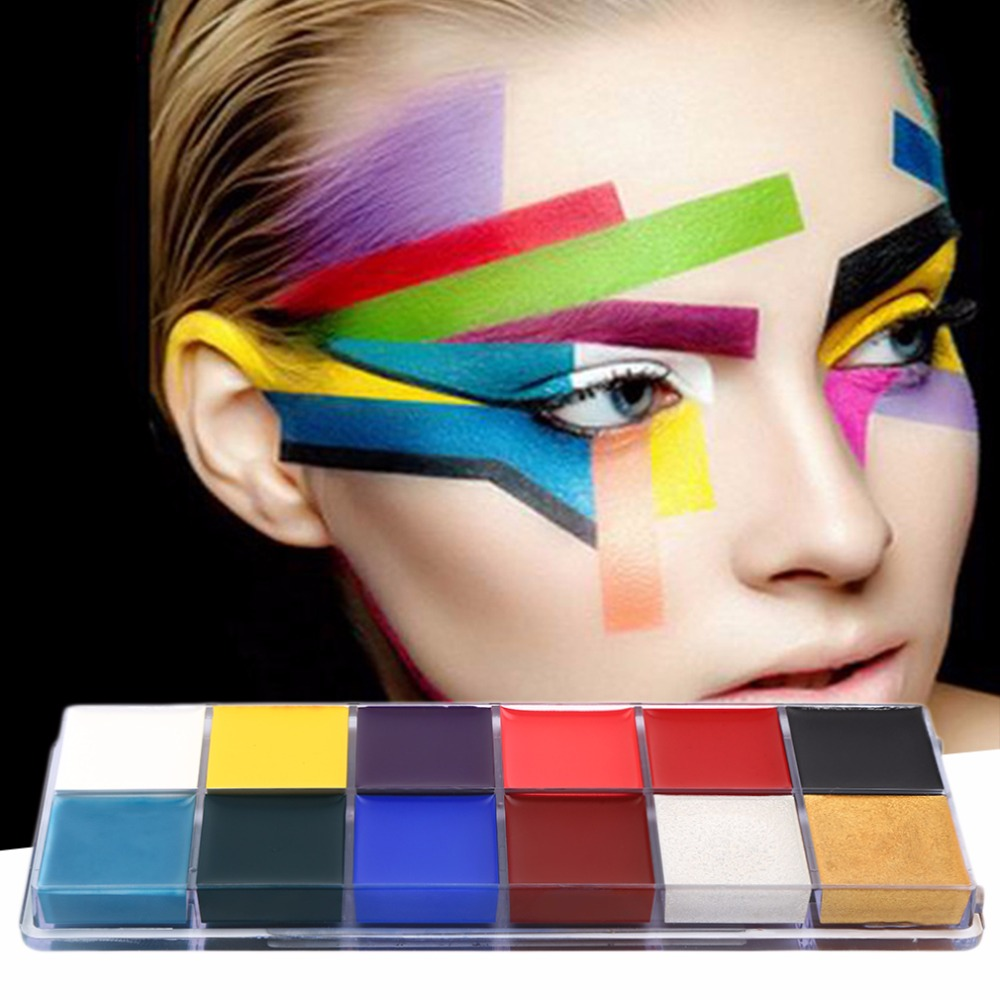 12 Colors/set New Style Professional Flash Tattoo Face Body Paint Oil Painting Art 2017 Makeup Tools imagic cosmetics body painting flash tattoo palette halloween painting skin wax professional makeup remover painting tools