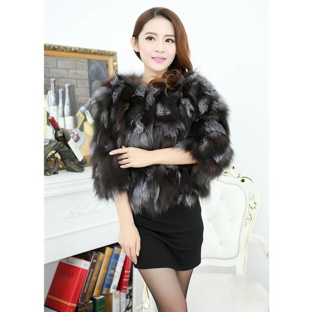 Aliexpress.com : Buy 2017 New Genuine Women Silver Fox Fur Jacket ...