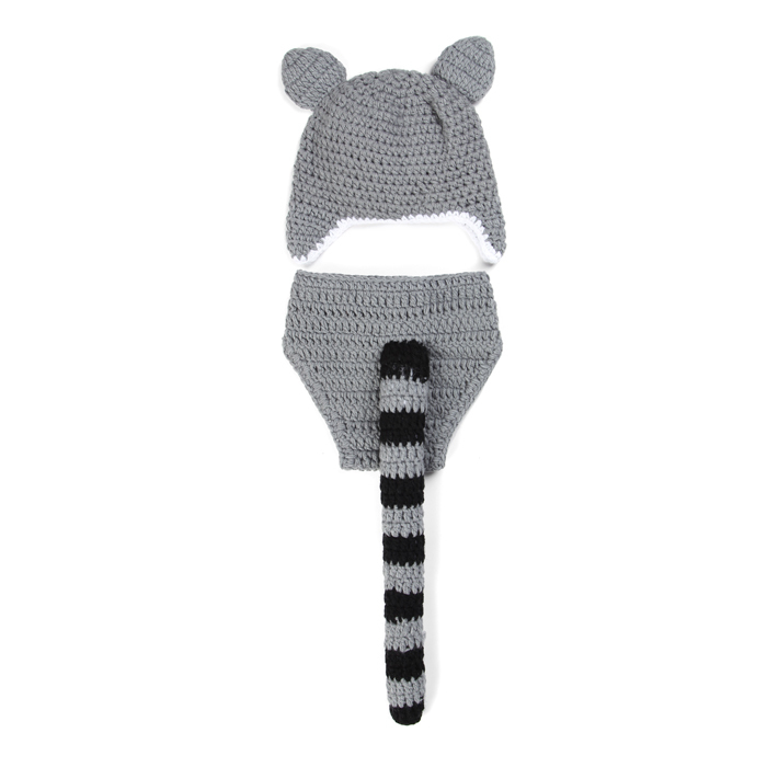 gray leopard infant baby boy hat and diaper set photography props crochet baby animal costume halloween outfit newborn clothing in hats caps from mother - Diaper Costume Halloween