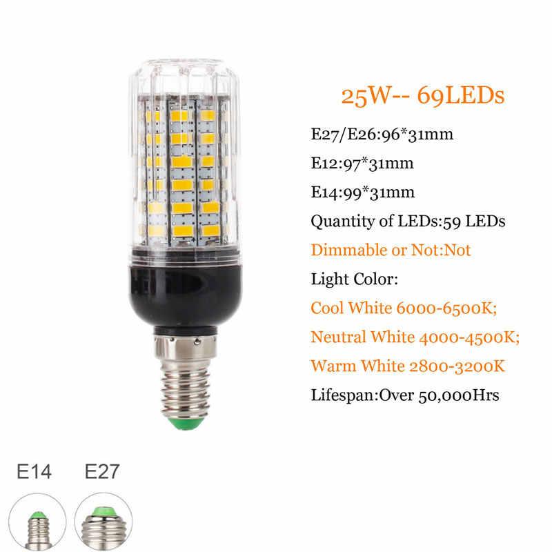 مصباح LED جديد كامل E27 E14 7 واط 9 واط 12 واط 15 واط 18 واط 20 واط 25 واط 28 واط 30 واط 35 واط SMD 5730 لمبة ذرة 220 فولت الثريا المصابيح شمعة ضوء الأضواء