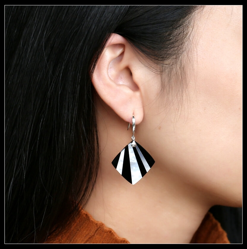 The best gift for the most loved one!!!New Design Hot Sale Onyx and shell Intarsia square Earrings , 925 Sterling Silver Finding image