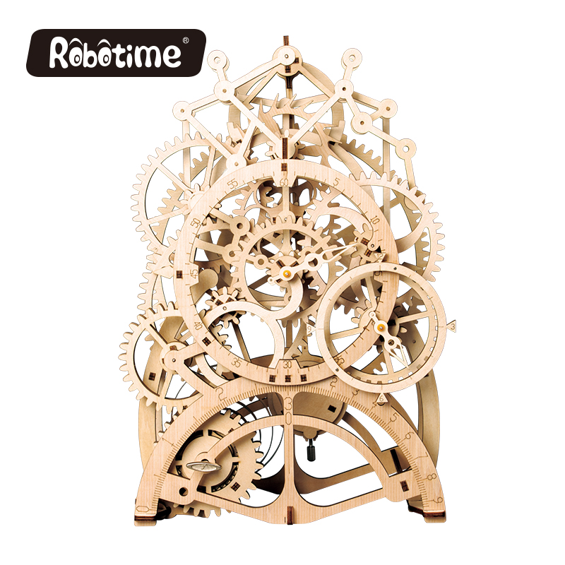 3D Puzzle Movement Assemble Wooden Jointed Pendulum clock Model for Children Teenage Clockwork spring toy  NEW