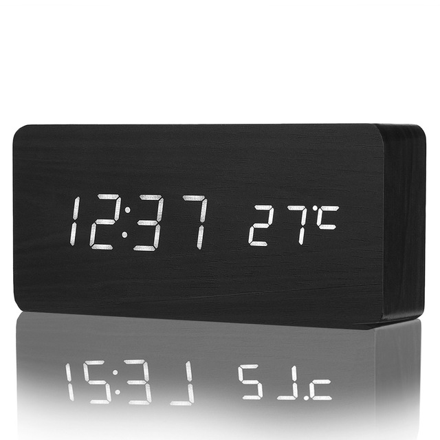 LED Wooden Alarm Clock Time Temperature Calendar Display Sound Control Round Angle USB Z30