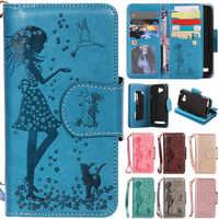 De lujo de dibujos animados 9 tarjeta espejo chica gato de cuero Flip Fundas para Huawei Ascend Y3 ii Y3ii Y3II Y3 2 y5 ii Y5ii Y5II Y5 2