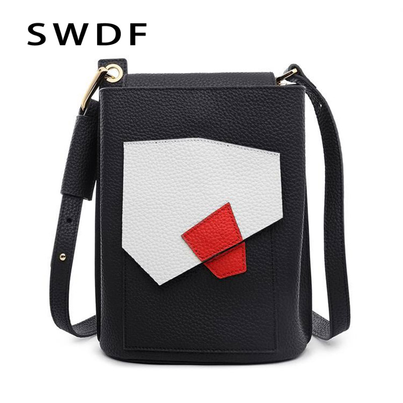 SWDF luxury genuine leather bags designer handbags women famous brands realer creative stitching o bag handles multi compartment