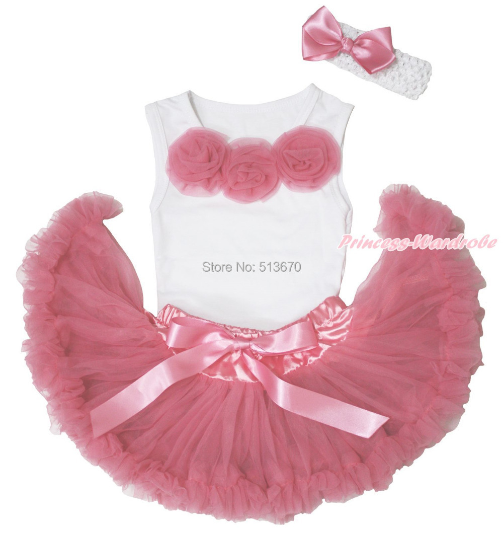 White Tank Top Dusty Pink Rose Newborn Pettiskirt Baby Girl Outfit Accessoy Set NB-12Month MAPSA0546 pink lala doll top light hot pink ruffle bow petal pettiskirt baby girl outfit set nb 8y mapsa0005