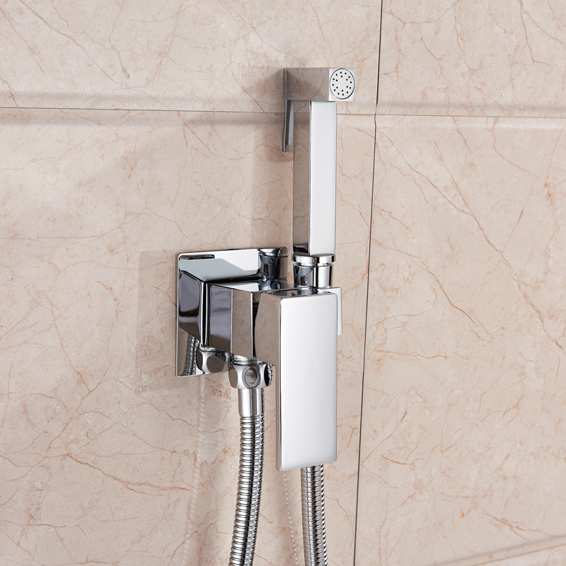 Bidet Spray And Shower Brass Square Shaped With Hot And Cold