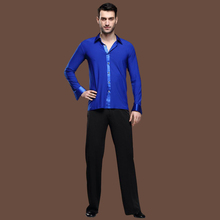 2sets/lot Adult Man's Long Sleeves Shirt Stripes Pants Latin Dance Wear Rumba Tango Cha-cha Dancing Clothing tl802