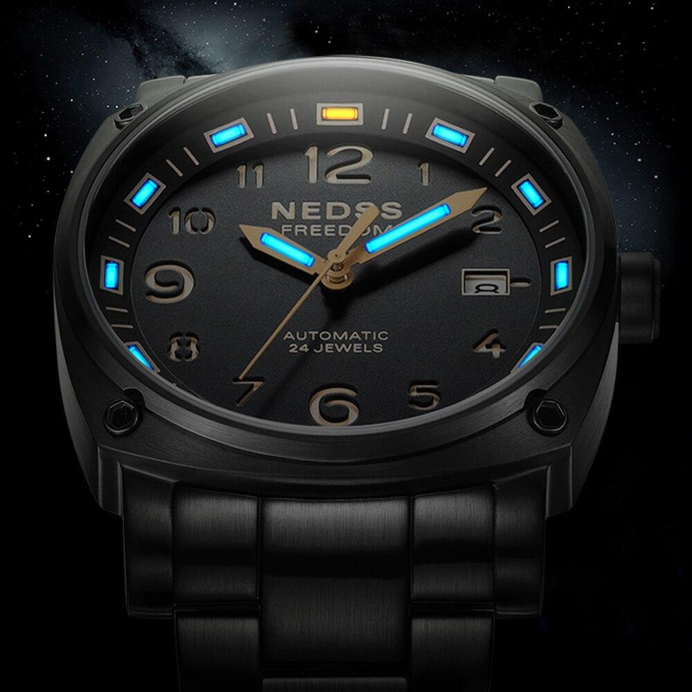 NEDSS tritium marque montre seiko Automatique montre hommes mécanique montres véritable sangle mâle militaire montre 50 M étanche