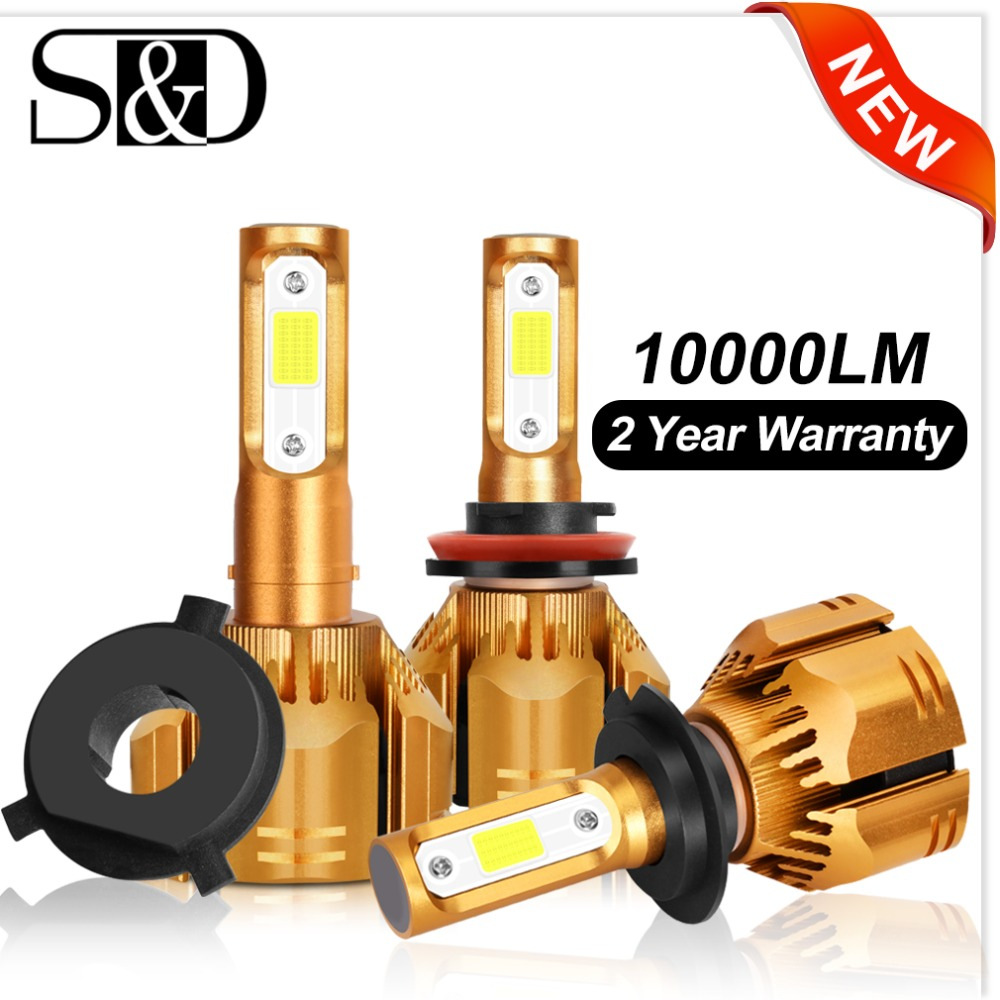 2 Pcs H1 H3 H4 H7 LED H11 HB3 9005 HB4 9006 H13 9004 9007 9012 LED Car Headlight Bulbs 6000K 10000LM Auto Headlamp 12V 24V