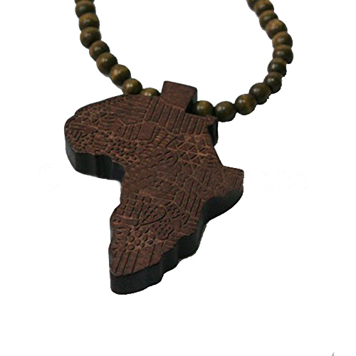 Good Quality African Map Pendant Wood Bead Rosary Necklaces Coffee