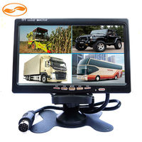 CCTV DC 12V 24V 7 LCD Car Monitor With 4CH Video Input Monitors Quad Split Screen
