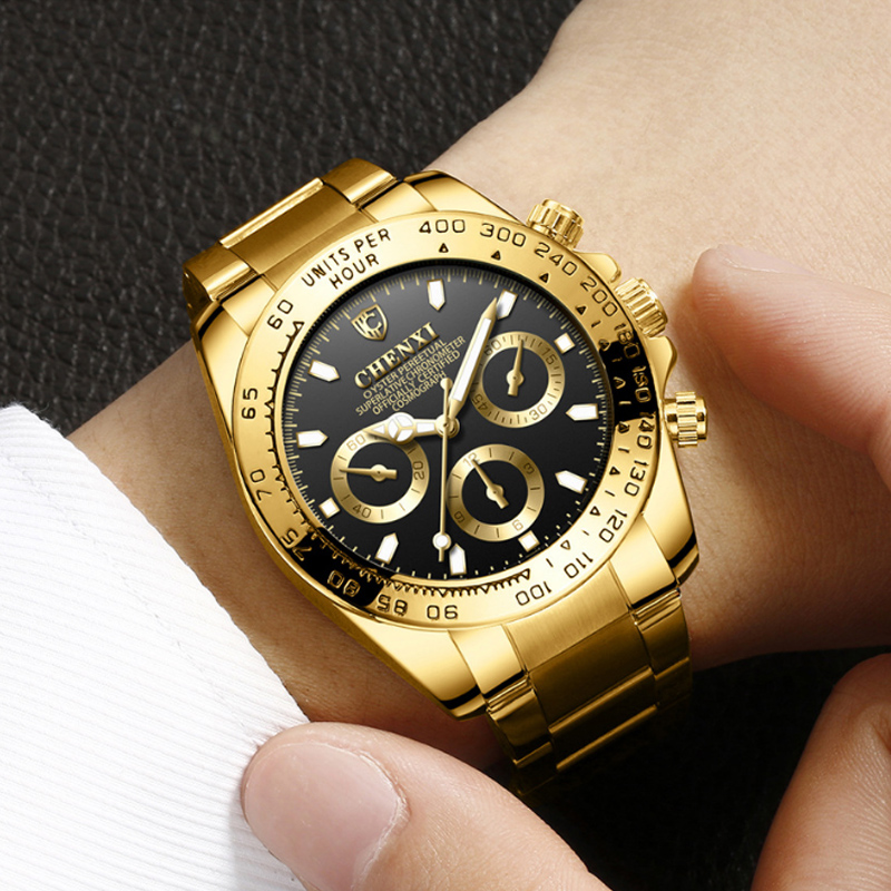 CHENXI Luxury Men Quartz Watch Fashion Gold Clock Sport Male Role Watches Waterproof erkek kol saati Relogio Masculino Reloje