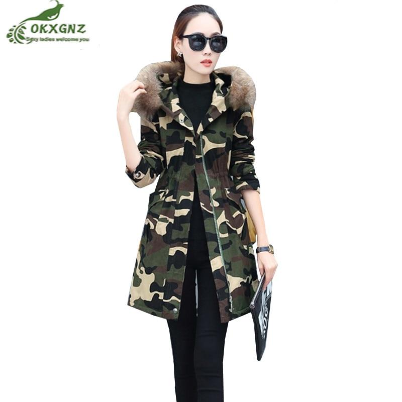 Outwear Army Nouvelle Parkas Fourrure Femmes De Green Moyen Hiver Femme coréen 2018 Long Camouflage Chaud Rembourré Col Manteau Automne Veste Coton T7qXtTwxH