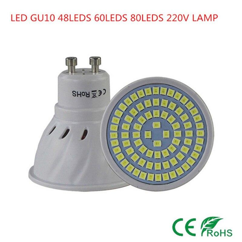 50XSuper Bright GU10 LED Spotlight 48 LEDS 60 LEDS 80 LEDs 220V 230V Led Bulb GU