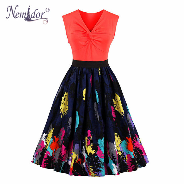 Nemidor 2017 Women 1950 Vintage Style V-neck Plus Size A-line Dress  Patchwork Sleeveless Midi Swing Rockabilly Dress 4420defcf794