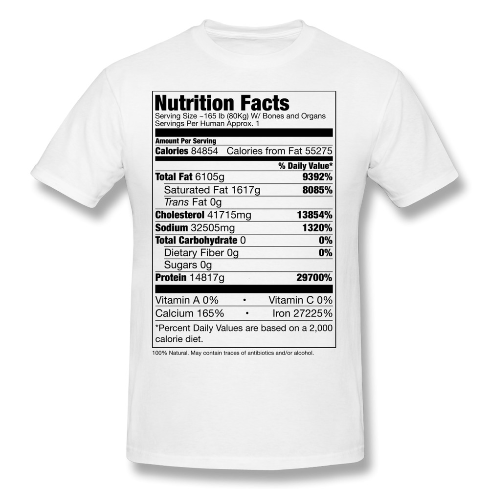Printed new coming human nutrition facts men t shirt for Selling t shirts on facebook