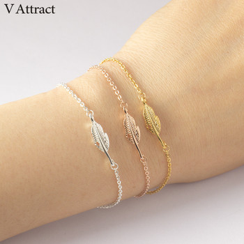 V Attract Best Friends Simple Leaf Charm Bracelet Femme Women Men Jewelry Gold Stainless Steel Chain Pulseira Masculina Couro image