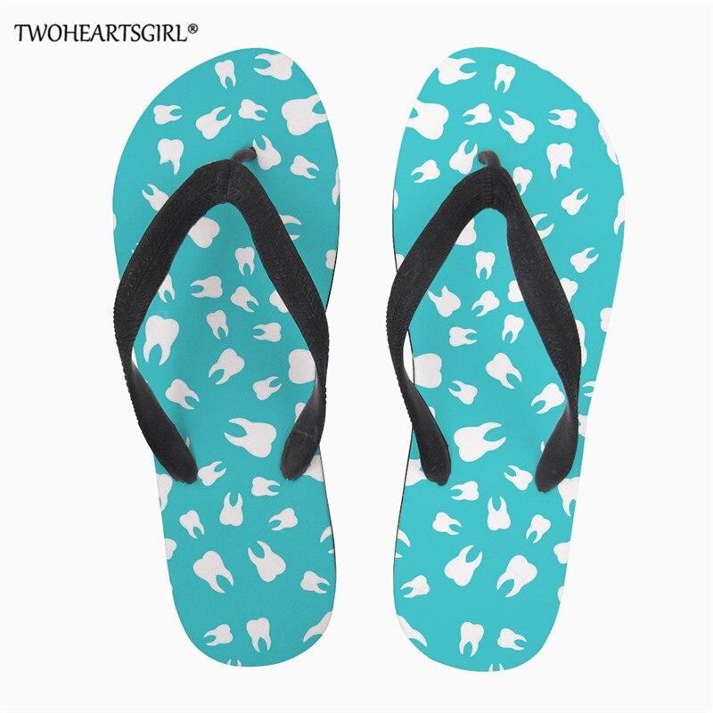 Treu Twoheartsgirl Dental Zahn Druck Frauen Flip Flop Lässig Leichte Strand Sandale Oder Dusche Schuhe Damen Flipflops Hause Pantoffel