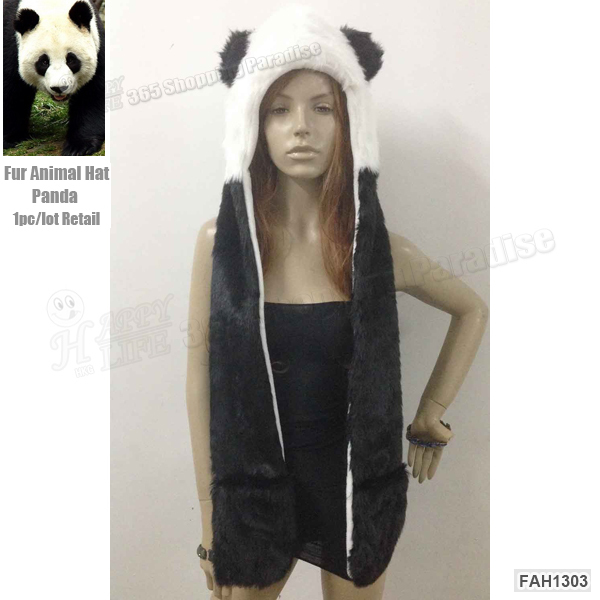Free Shipping 1pc/Lot Popular Crazy Panda High Quality Faux Fur Hood Animal Hat With Ear Flaps and Hand Pockets 3 in 1 Function