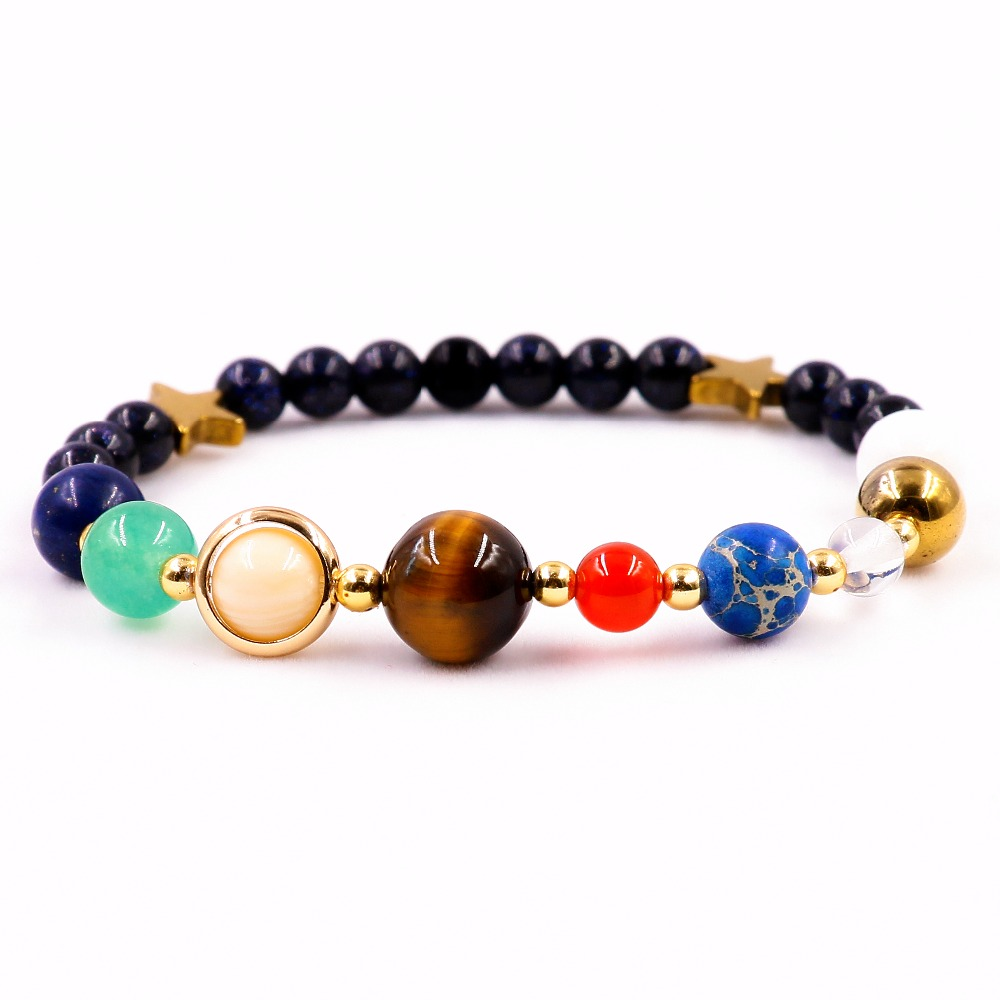 Universe Galaxy the Eight Planets System Guardian Star Natural Stone Beads Bracelet Charm Women & Men Energy Jewelry Gifts