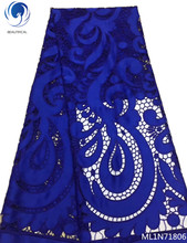 BEAUTIFICAL guipure lace fabric luxury 2019 blue african fashion latest design for wedding ML1N718