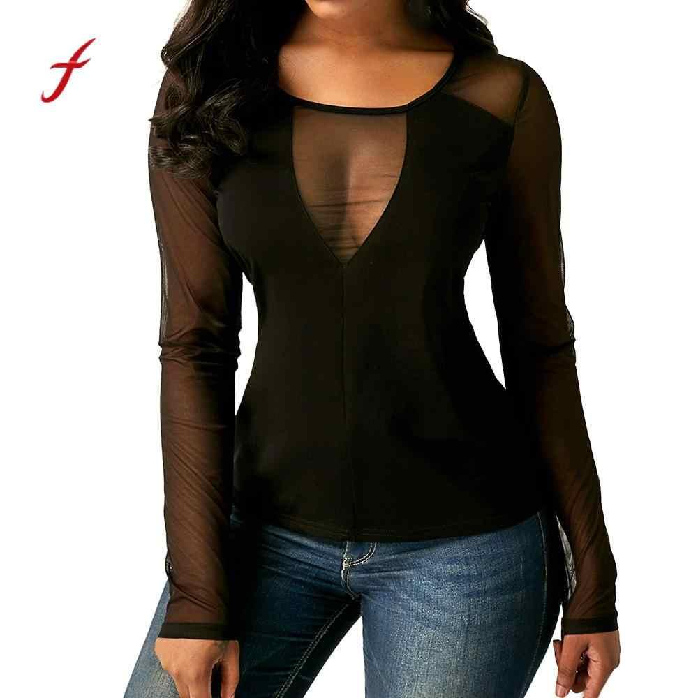 2018 seksi T gömlek kadın siyah moda uzun kollu gömlek örgü perspektif katı o-boyun T-Shirt şeffaf üstleri/PY