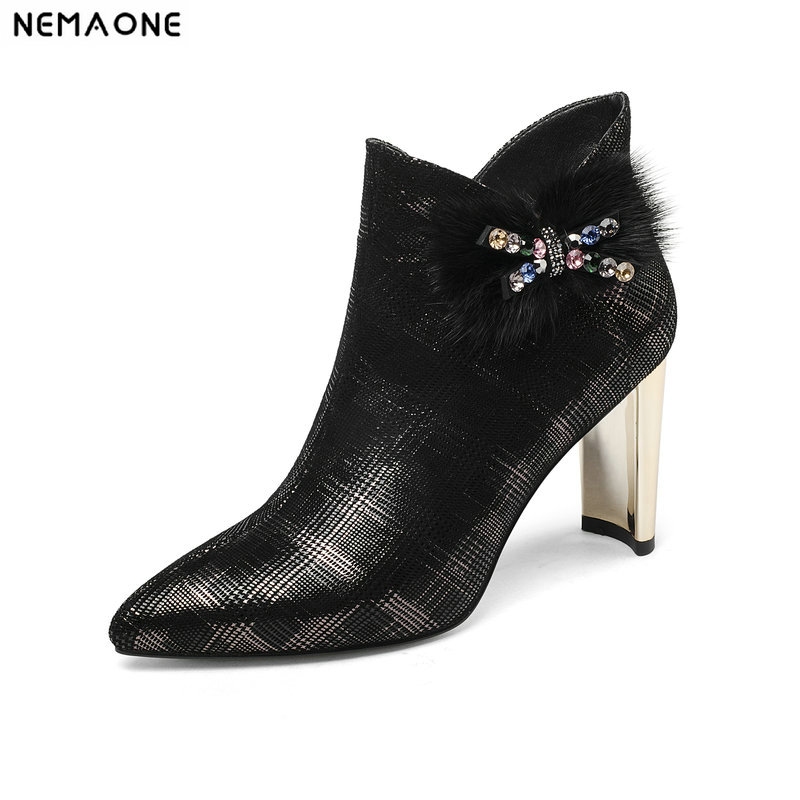 цена на NemaoNe ladies boots women luxury genuine leather shoes woman zapatos mujer sapato ankle boots chunky high heels booties