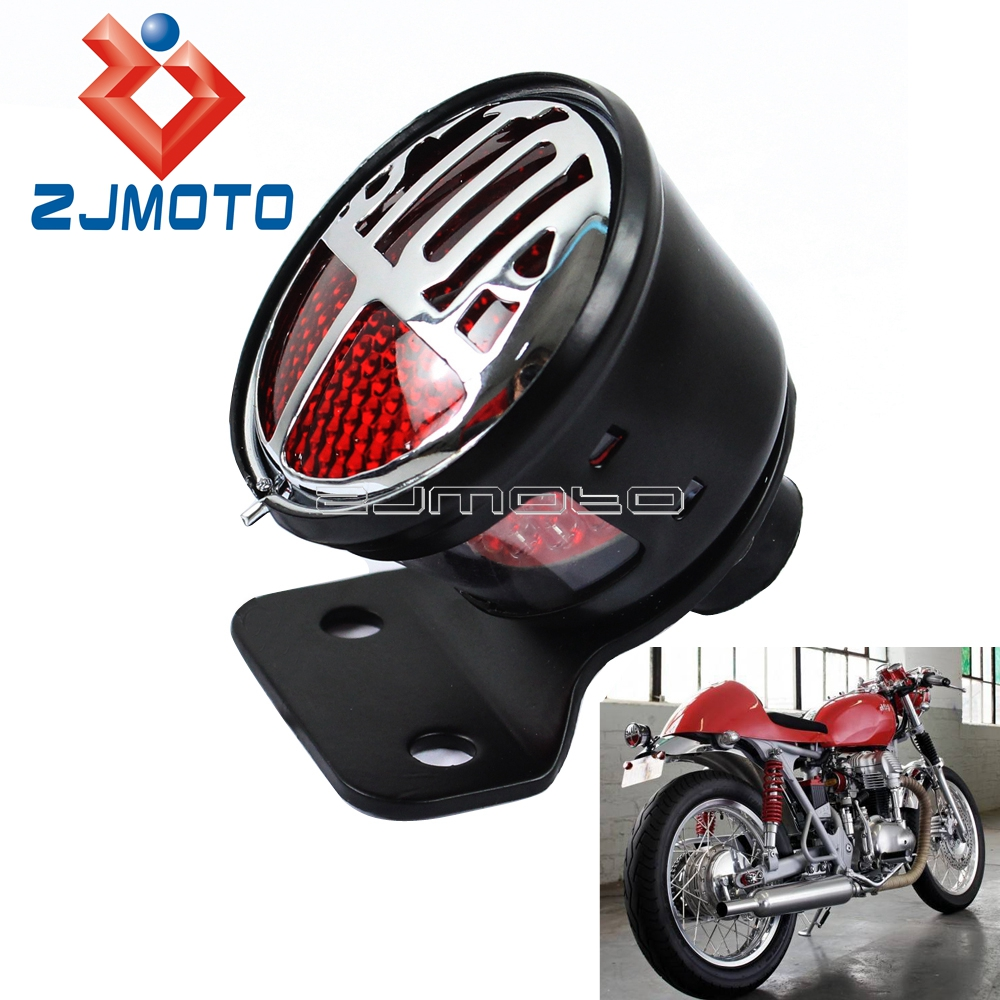 For Harley LED Bates Tailight Motorcycle Tail Light Miller STOP Light For Custom Cafe Racer Bobber Chopper W  License Plate Lamp