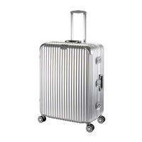 28 Aluminum Luggage Suitcase Spinner Travel Suitcase Hand Luggage Trolley With Wheel Silver