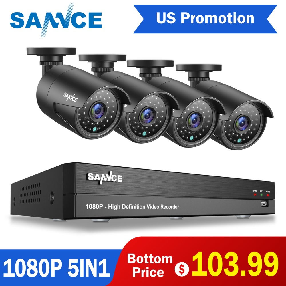 SANNCE 4pcs Cameras DVR kIT 1080P 5 IN 1 Video Security System Surveillance CCTV Up to 8TB HDD Email Alert Weatherproof IP66 US