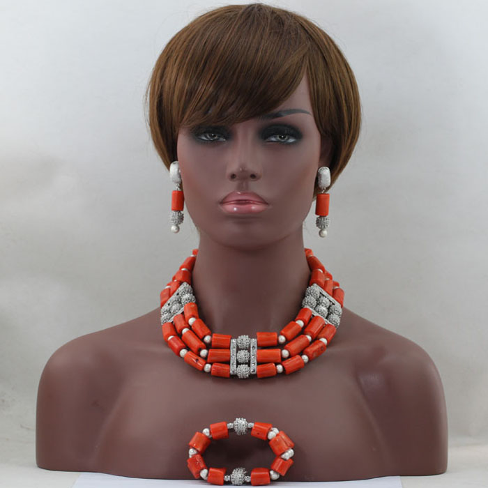 Trendy Coral Beads Bridal Jewelry Sets African Nigerian Wedding Beads for Women Jewelry Set Choker Necklace Free Shipping ABL465 trendy letter beads layered necklace for women