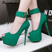 678f78f2b0a New 2019 Spring Summer Women Pumps Sexy Peep toe Platform Wedge ultra high  heels Fashion Ankle