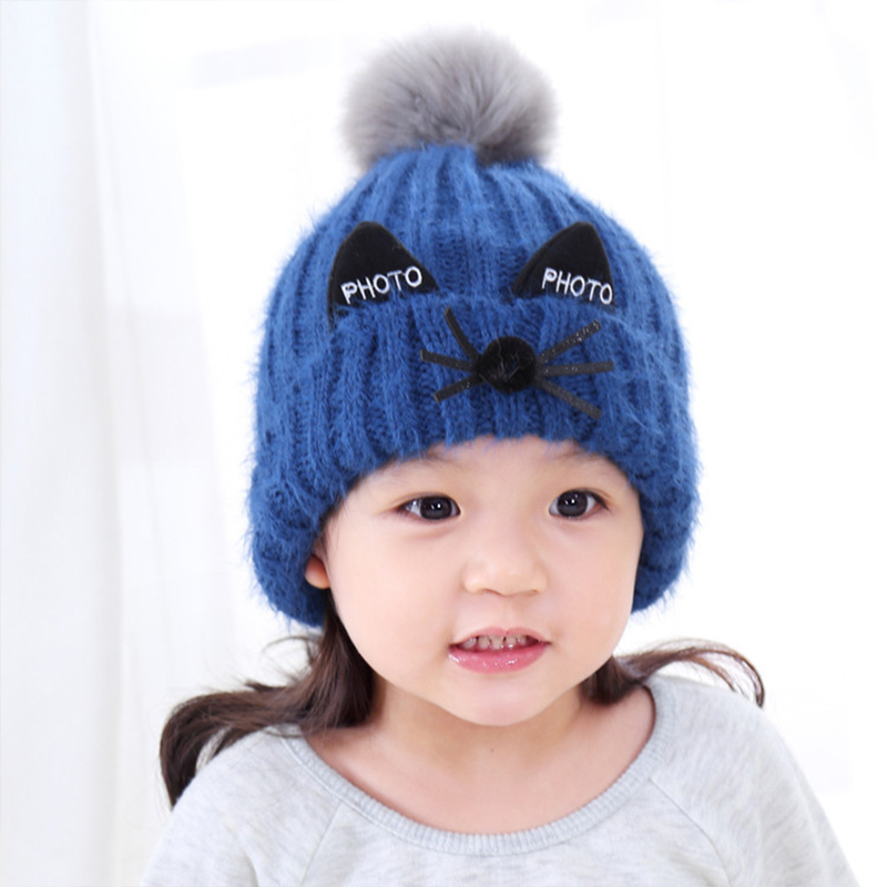 authentic 5b221 4d29d lovely children hat knitted pompoms winter hat ... eb5a164a9400