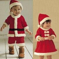 2017 חג המולד לילדים ביגוד הגדר 12 M-3 T חליפת נערים בייבי לפעוטות בנות בנות חמים תחפושות סנטה קלאוס מתנת בגדי כובעים אדומים