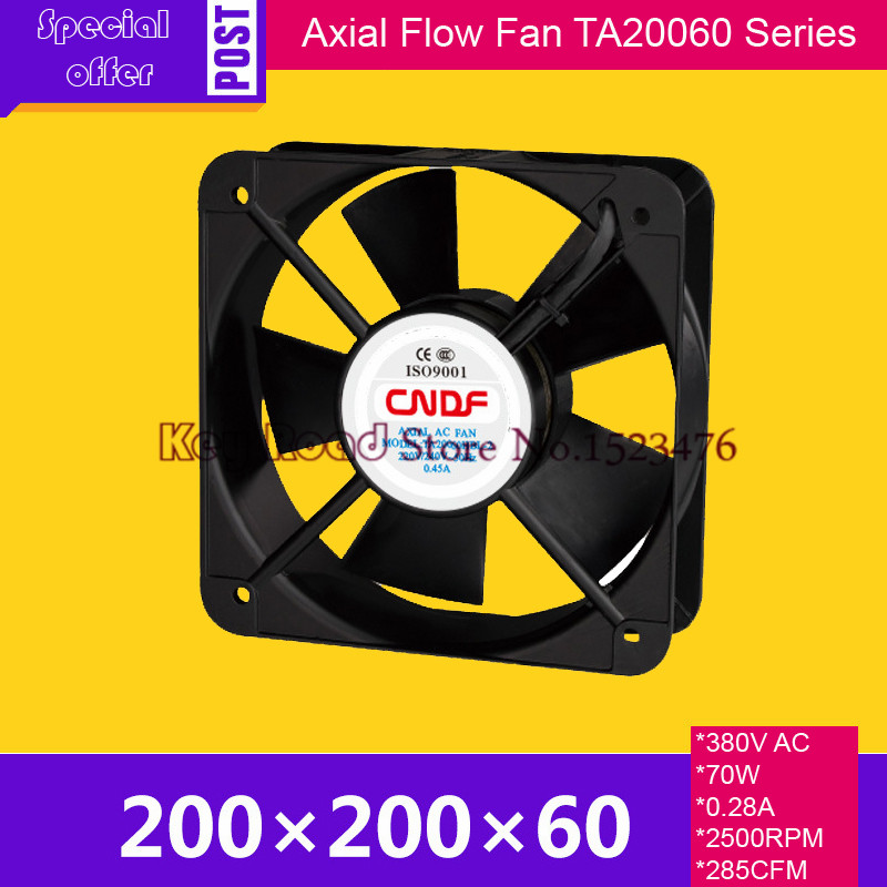 380V AC 70W 0.28A  285CFM 200*200*60mm TA20060HBL-3 Square Ventilating Fan For Hutch Defends,Heat Dissipation