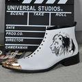 Новый Натуральная Кожа Тигра Печатных Мужчин Белый Ботильоны Железа Острым Носом Мужские Платья, Обувь Военная Ковбой Botas Masculina
